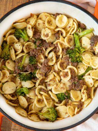 Orecchiette with Sausage and Broccoli in pot