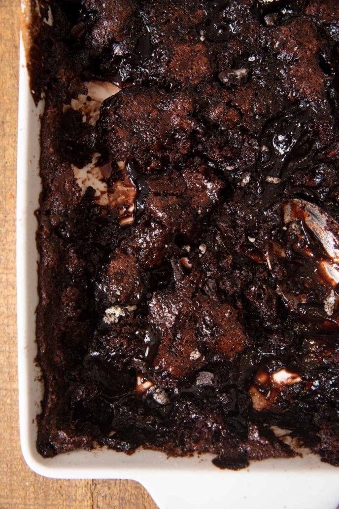 Oreo Cobbler in baking pan
