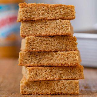 Peanut Butter Blondies in stack