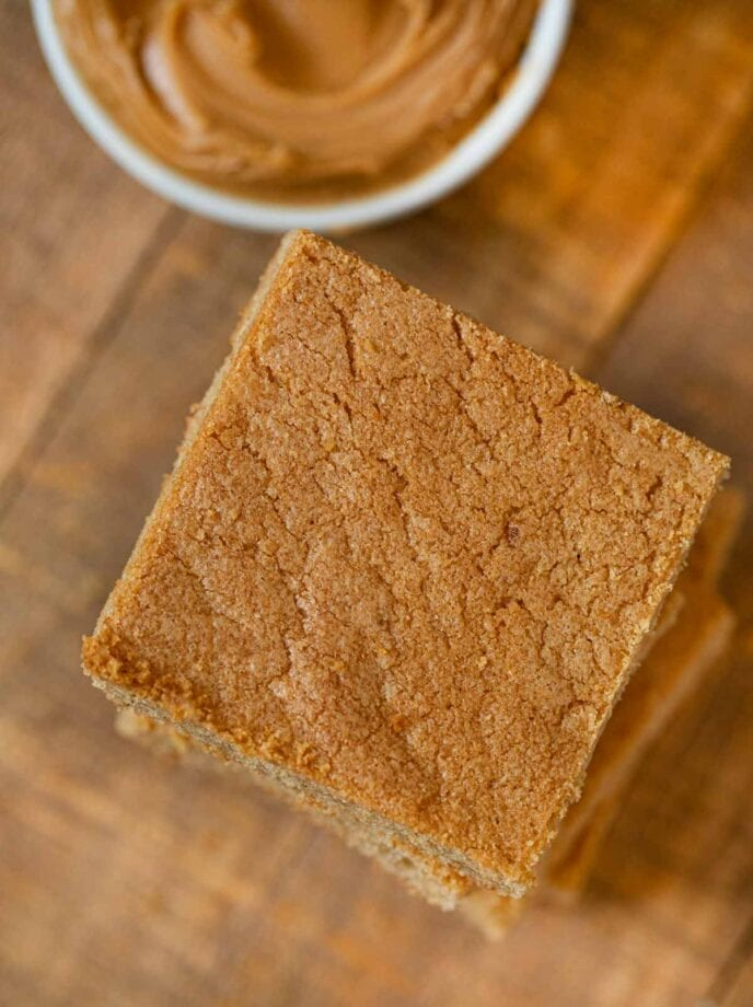 Peanut Butter Blondies in stack, top-down view