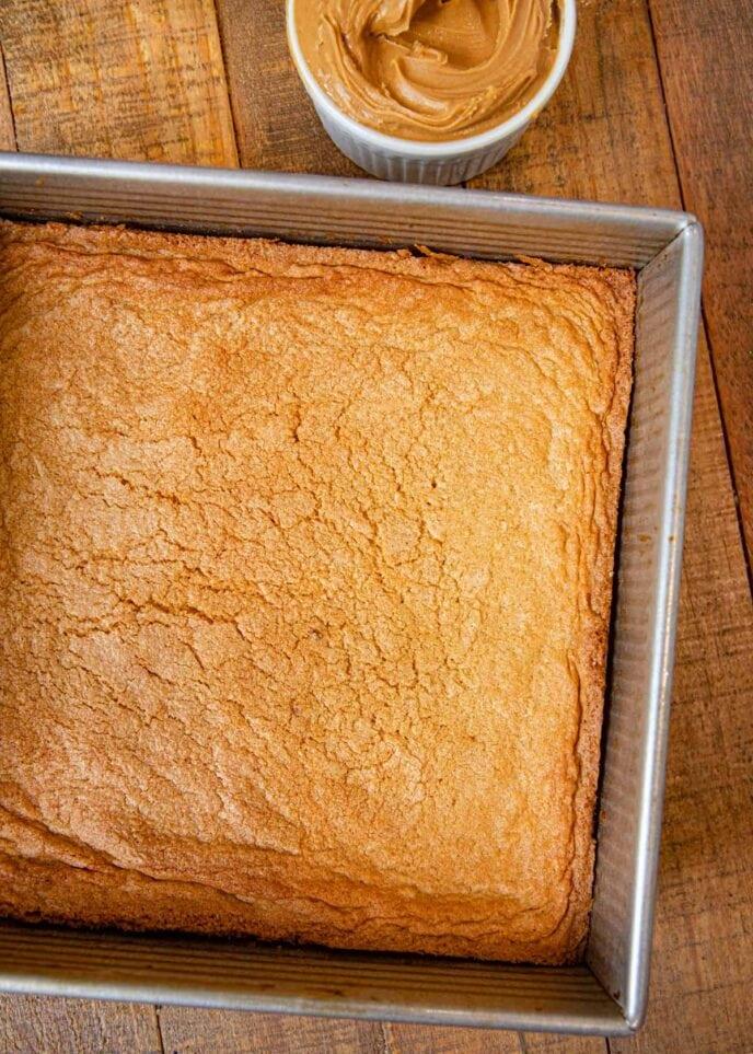 Peanut Butter Blondies in baking pan