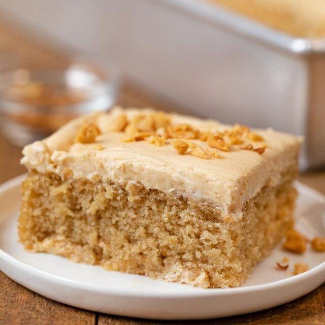 Peanut Butter Sheet Cake slice on plate