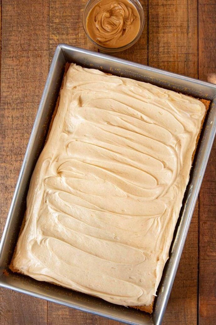 Peanut Butter Sheet Cake top-down view