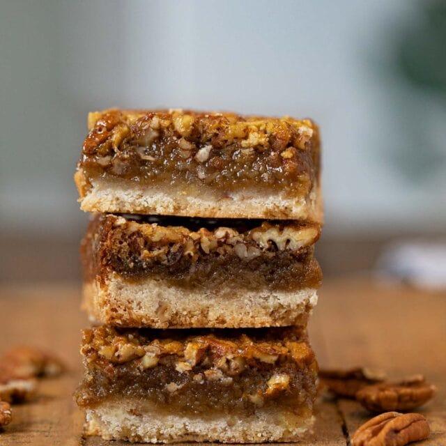 Pecan Pie Bars in stack