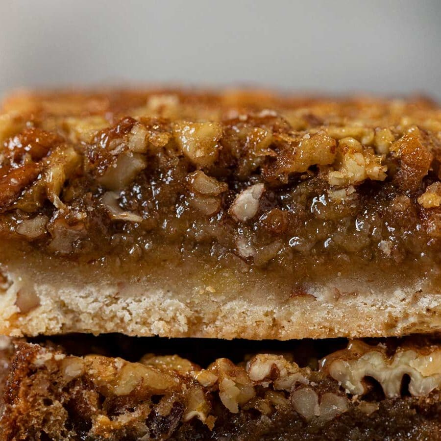 Pecan Pie Bars in stack