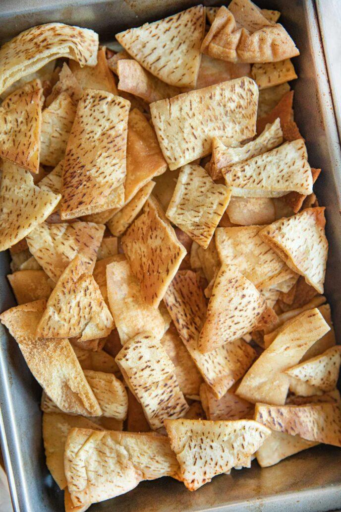Cut Up Pita Chips in baking pan