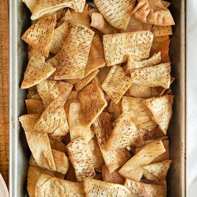 Pita Chips in baking pan