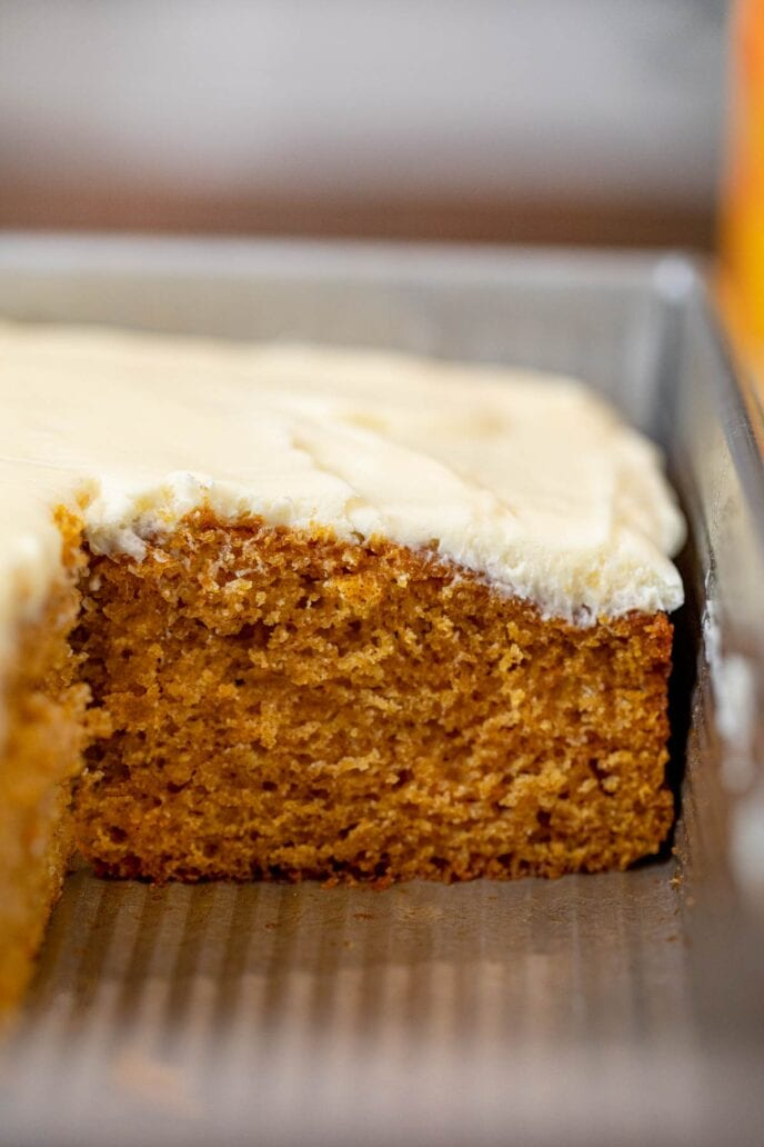 Pumpkin Sheet Cake in baking pan