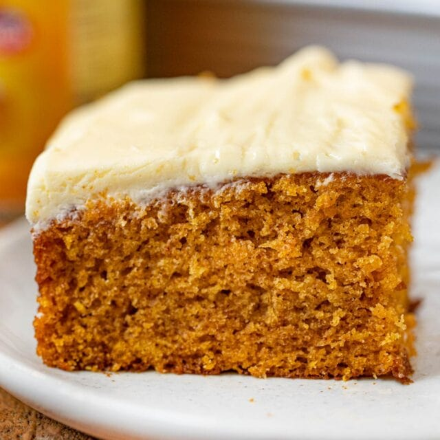 Pumpkin Sheet Cake slice on plate