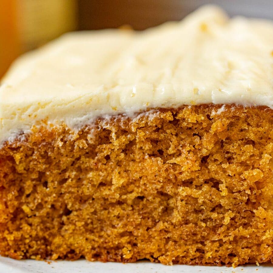 Pumpkin Sheet Cake slice on plate