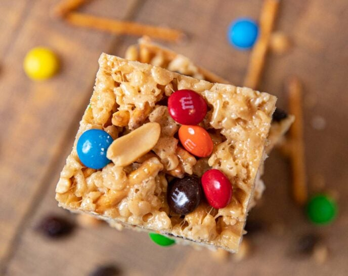 Rice Krispies Trail Mix Bars, top down view of stack