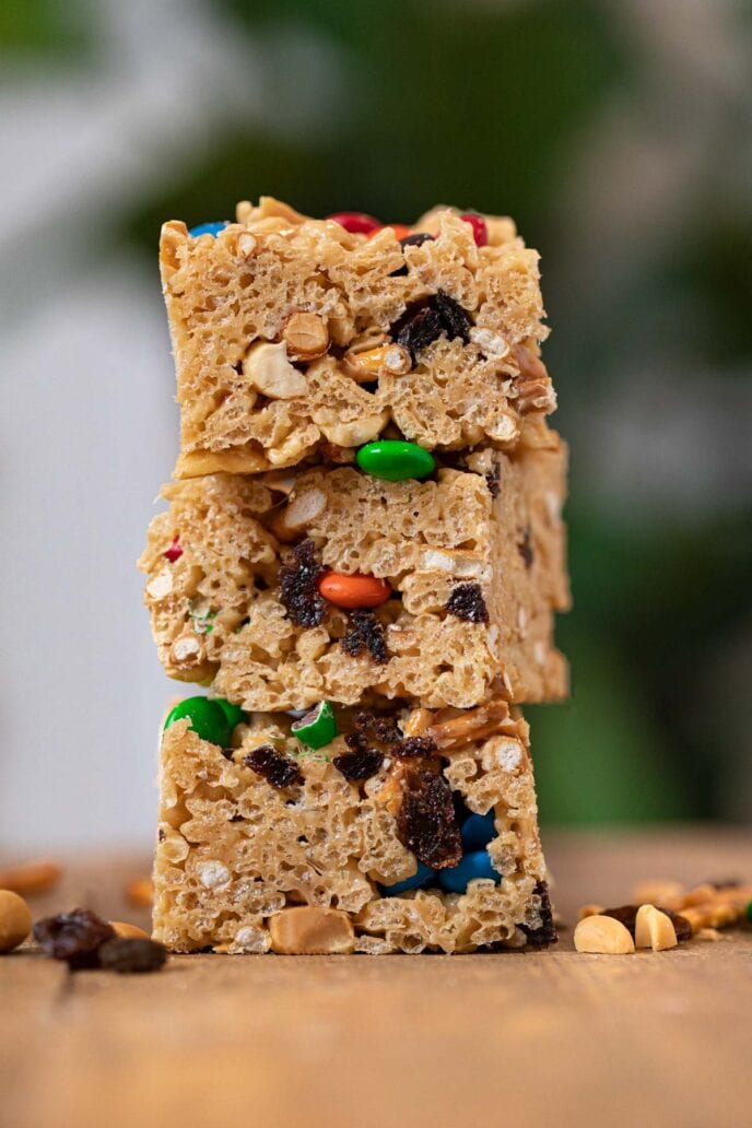 Rice Krispies Trail Mix Bars in stack