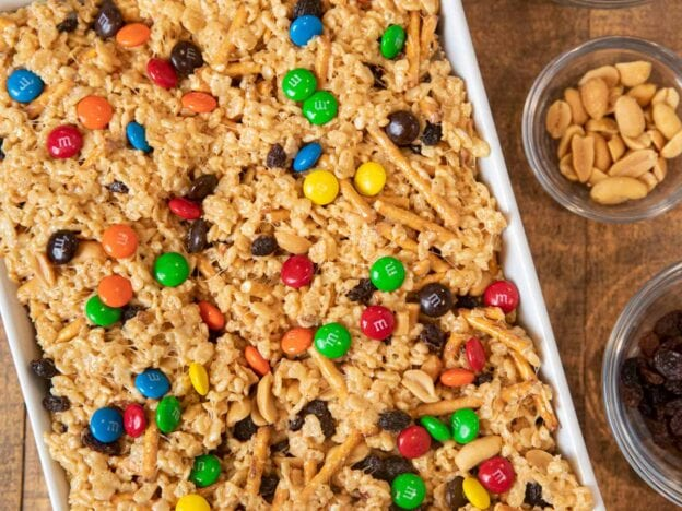 Rice Crisps Trail Mix Bars in Baking Dish