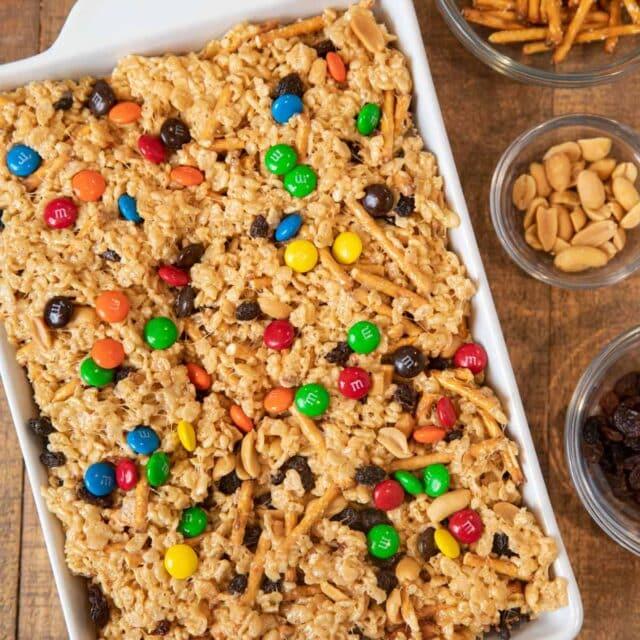 Rice Krispies Trail Mix Bars in baking dish