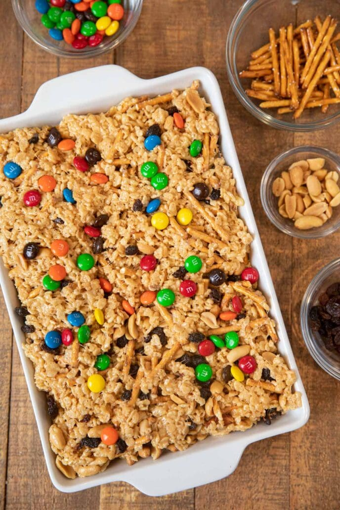 Rice Krispies Trail Mix Bars in baking dish