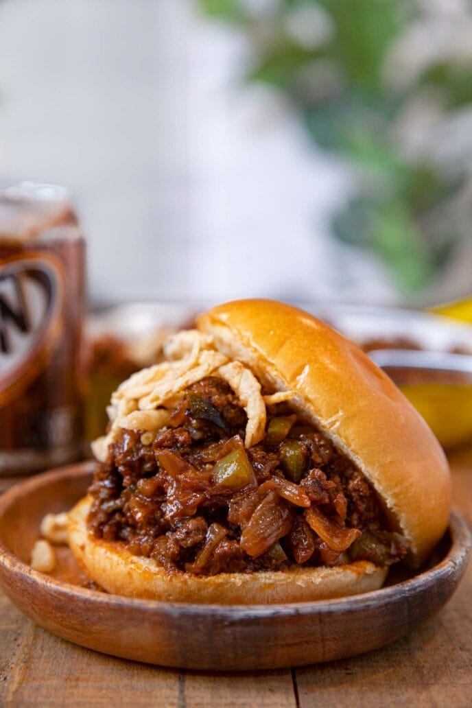 Root Beer Sloppy Joes sandwich on plate