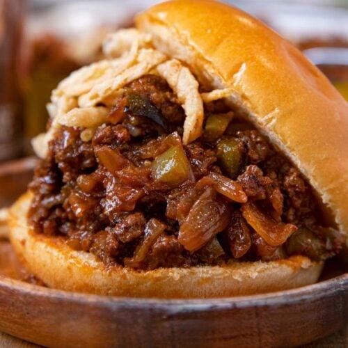 Root Beer Sloppy Joes sandwich on plate