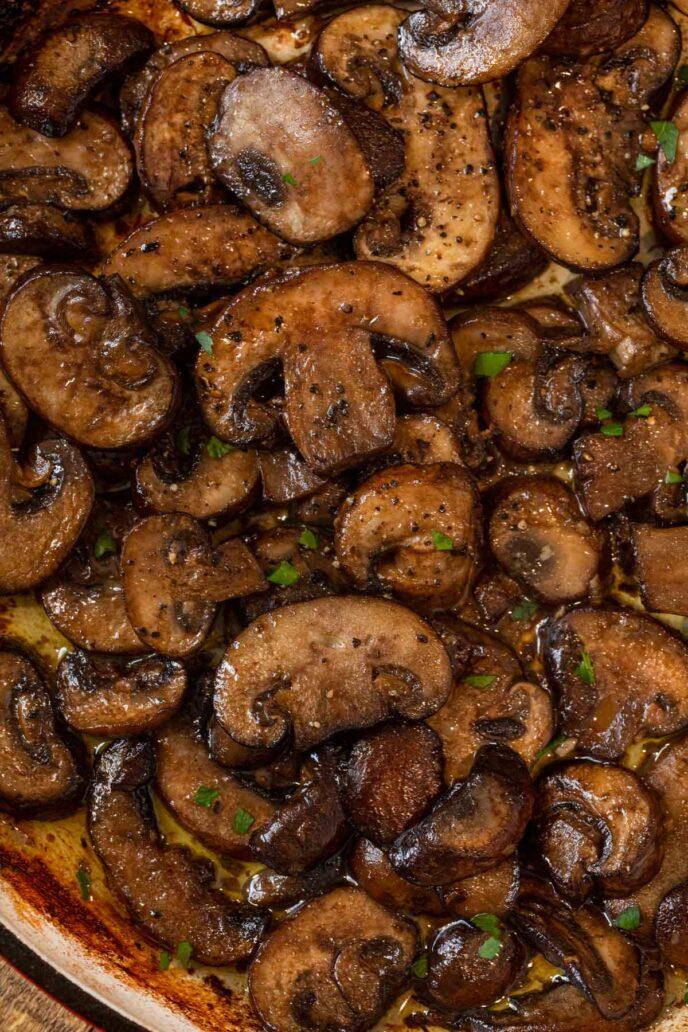 Sauteed Mushrooms in pan