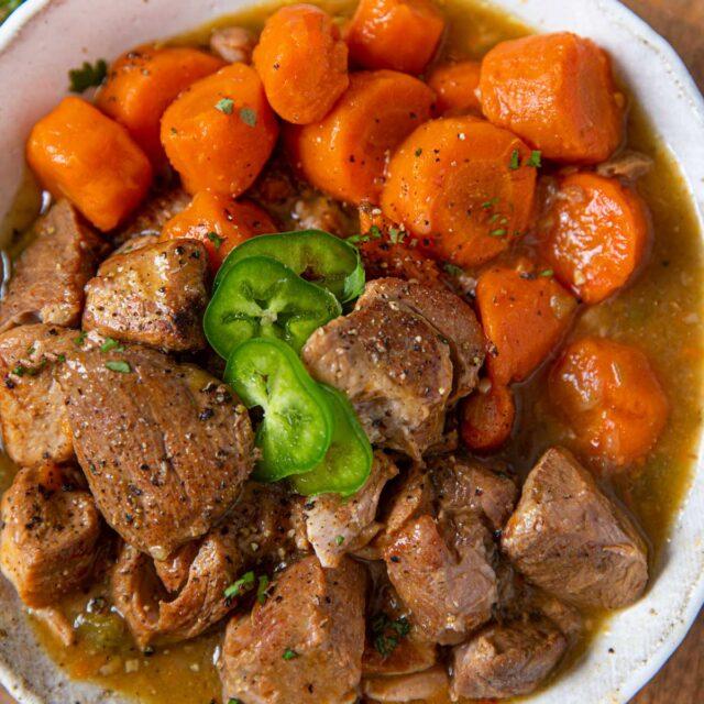 Slow Cooker Pork Chile Verde in bowl