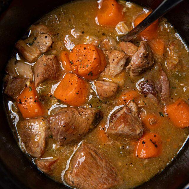 Slow Cooker Posole Pork in crockpot