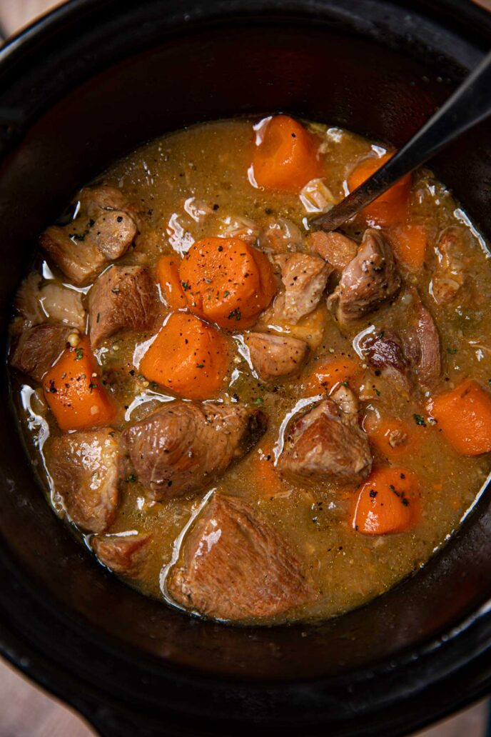 Slow Cooker Pork Chile Verde in crockpot