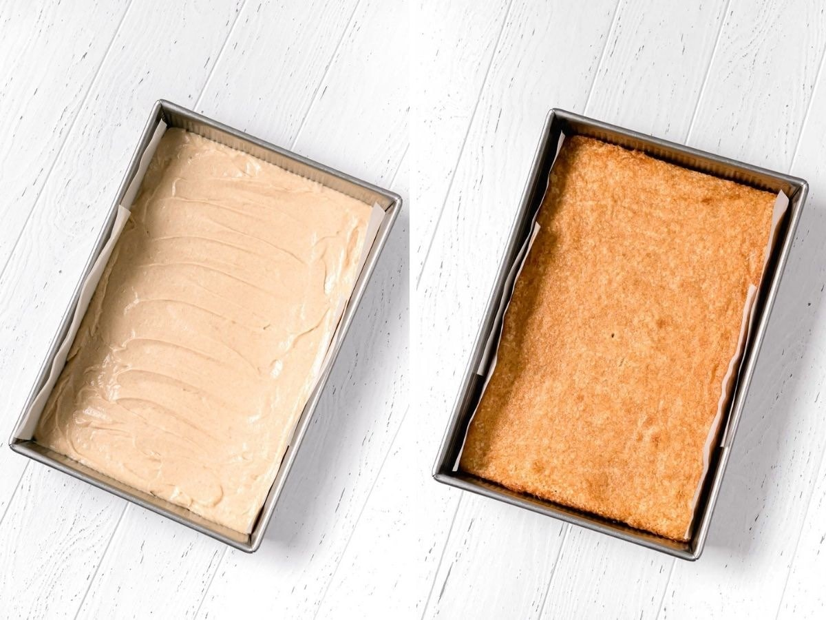 Snickerdoodle Sheet Cake batter in pan before and after baking