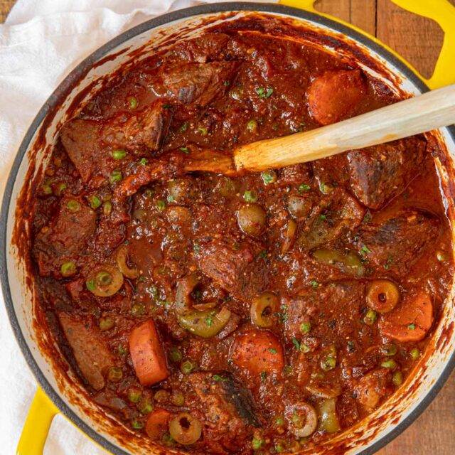 Spanish Beef Stew in Yellow Dutch Oven
