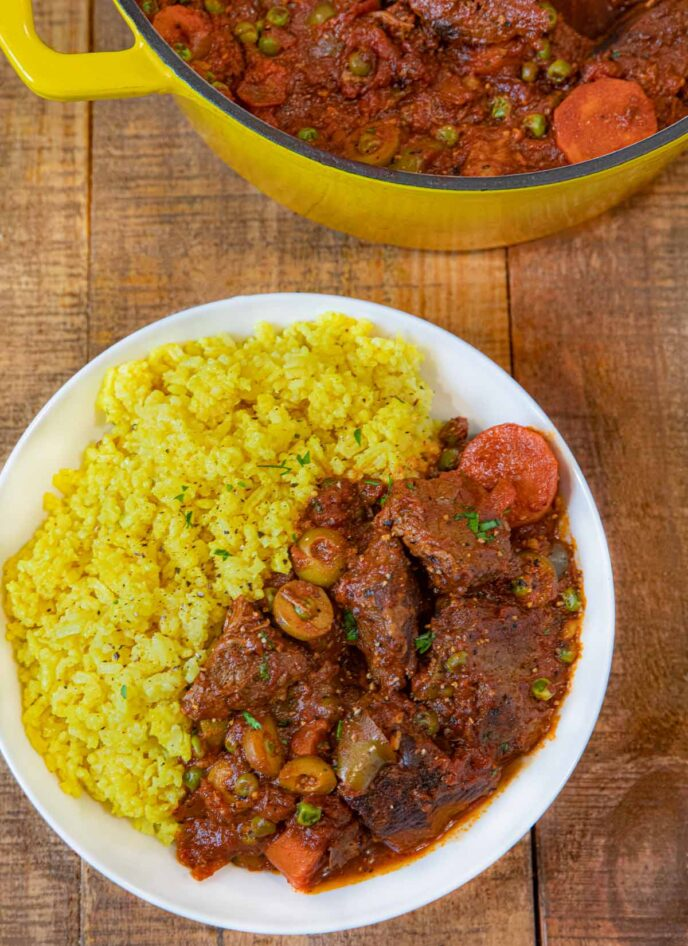 Bowl of Spanish Beef Stew with Latin Rice