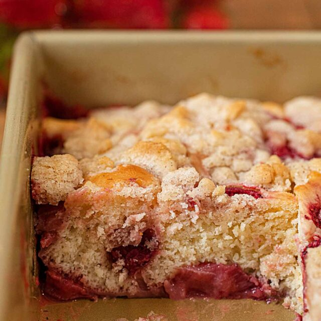 Strawberry Buckle in baking pan