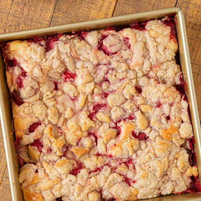 Strawberry Buckle in baking pan, top-down view