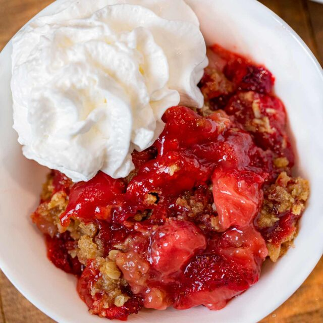 Strawberry Crisp serving on plate
