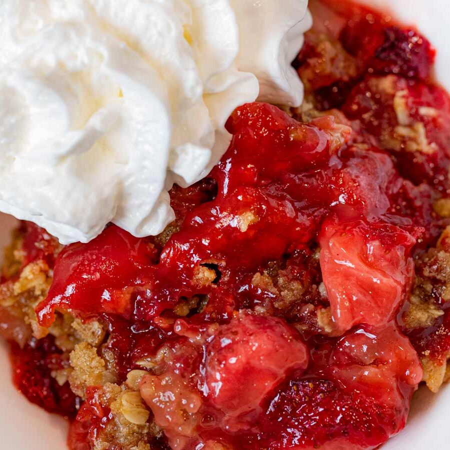 Strawberry Crisp serving on plate