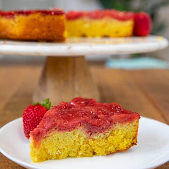 Strawberry Upside Down Cake slice on plate