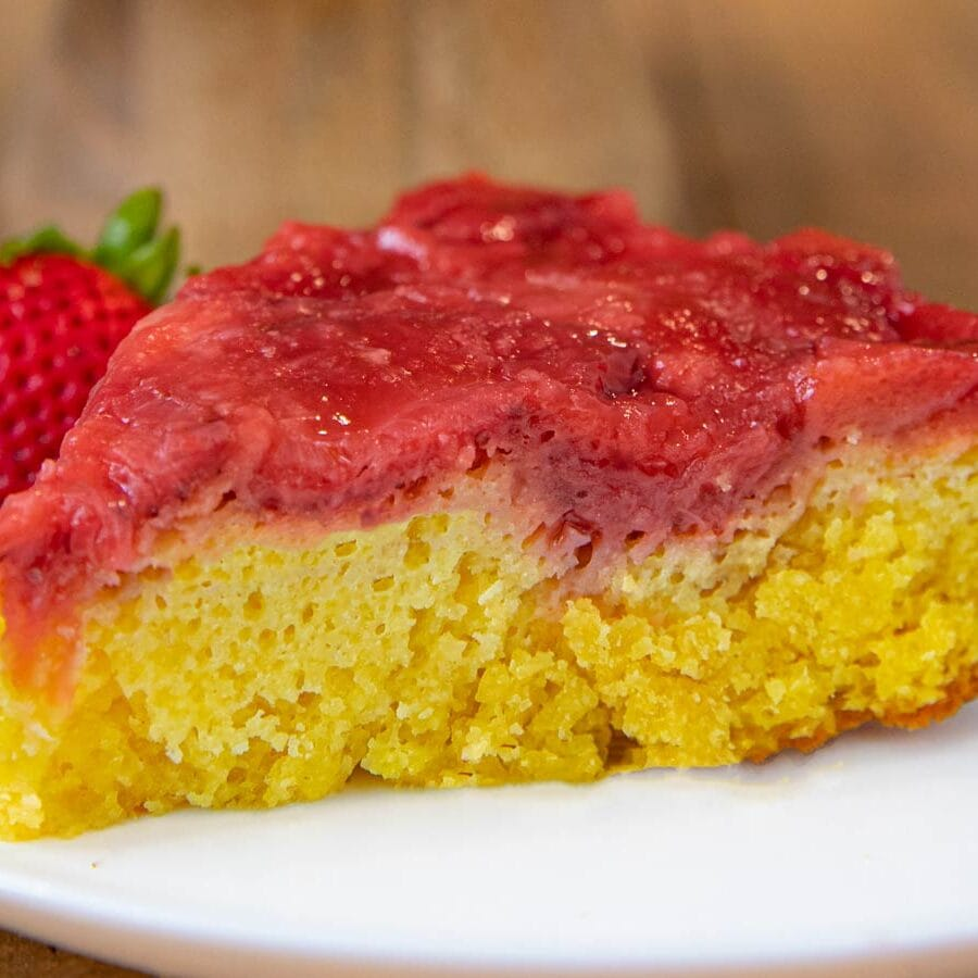 Strawberry Upside Down Cake slice on plate