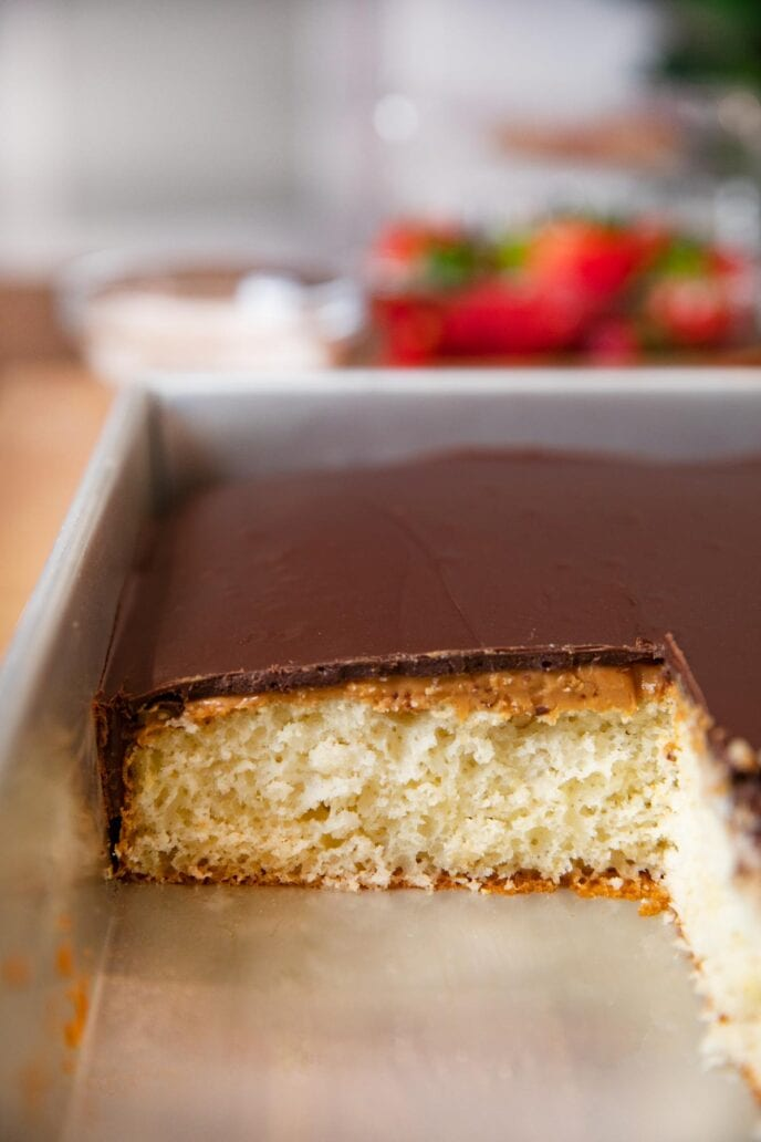 Tasty Kake Peanut Butter Tandy Cake in baking dish with slice removed