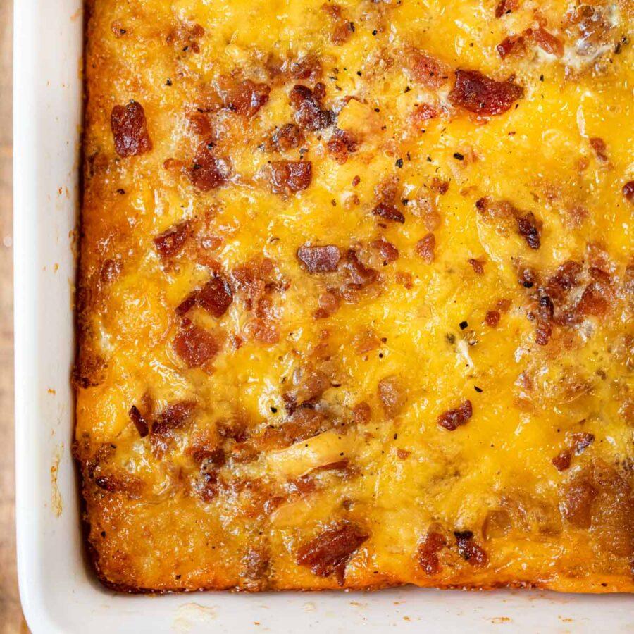 Tater Tot Breakfast Casserole in baking dish