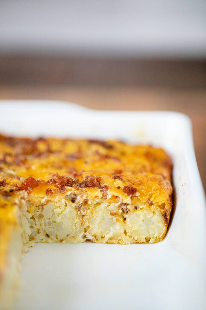 Tater Tot Breakfast Casserole cross section in baking dish