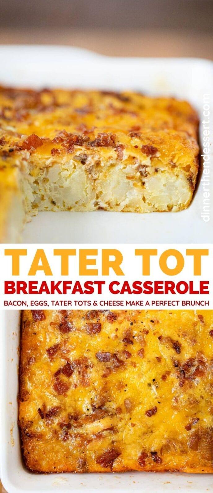 Tater Tot Breakfast Casserole collage