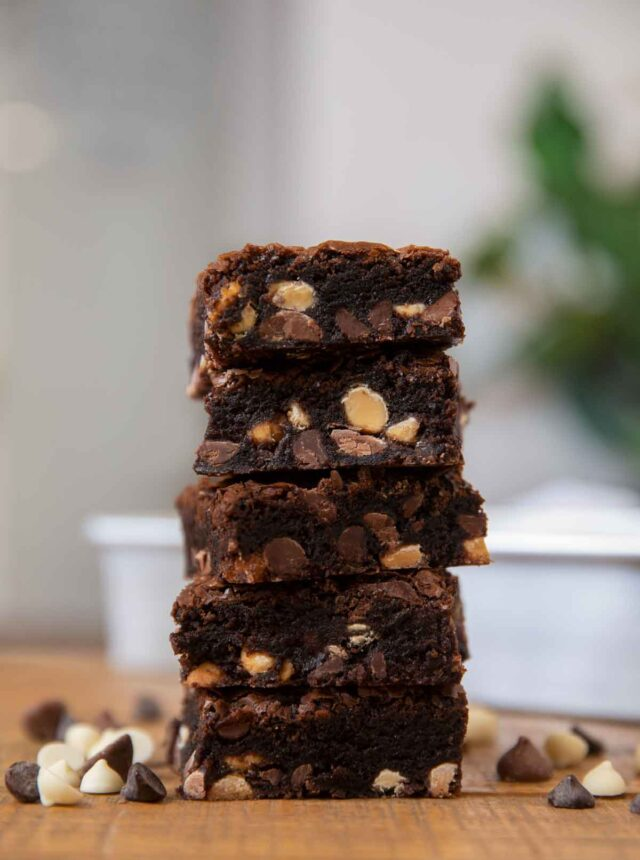 Triple Chocolate Brownies in stack