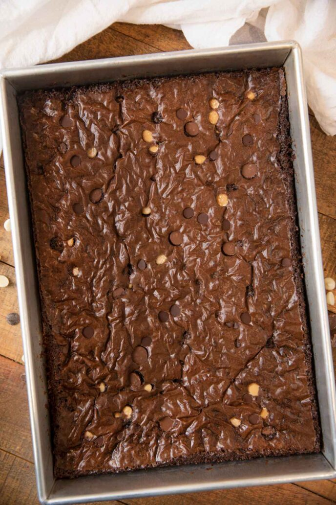 Triple Chocolate Brownies in baking pan