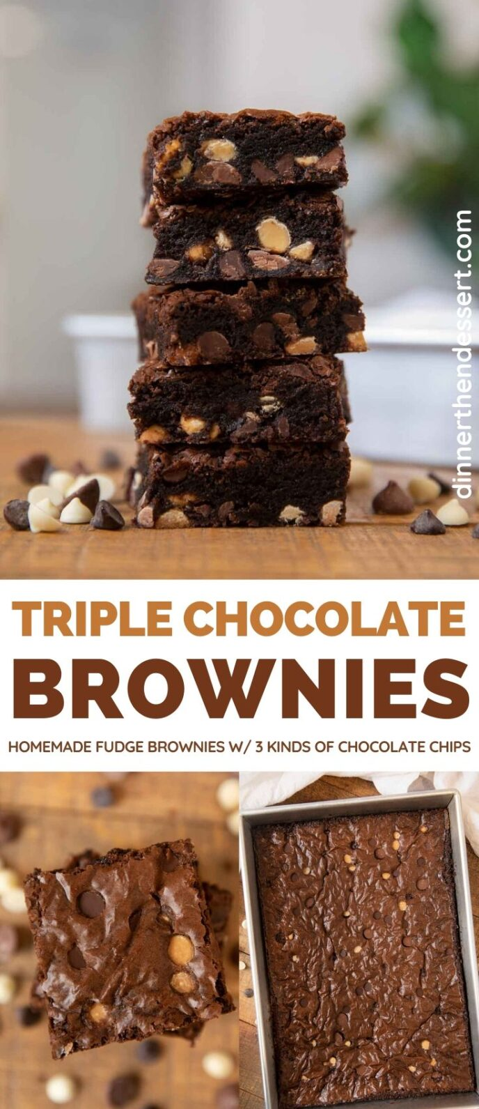 Triple Chocolate Brownies collage