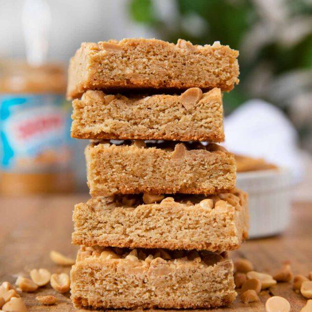Ultimate Triple Peanut Blondies in stack