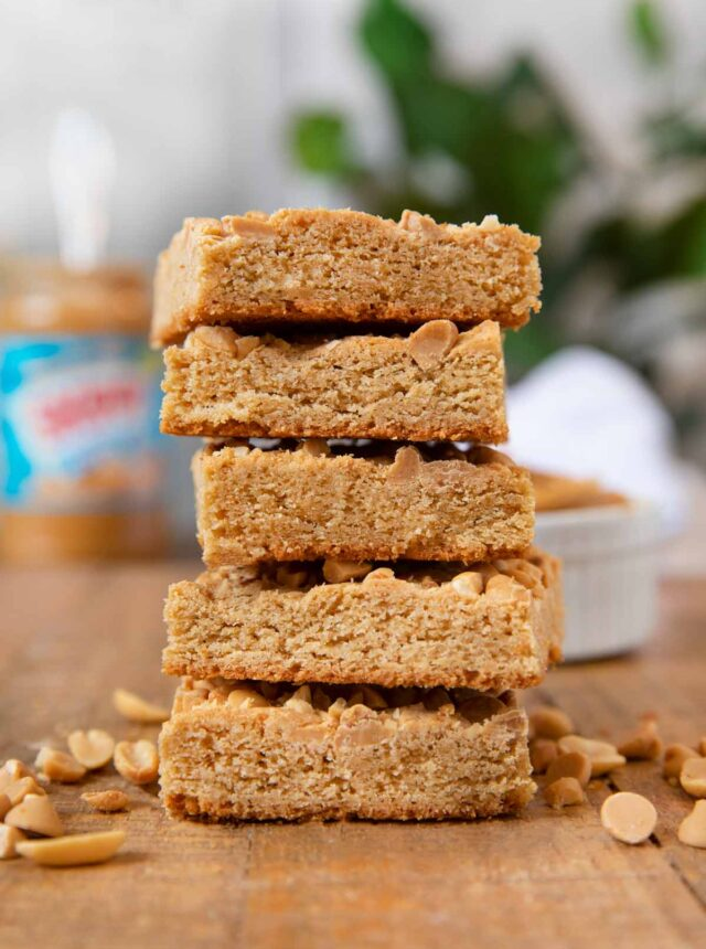 Ultimate Triple Peanut Blondies in stack