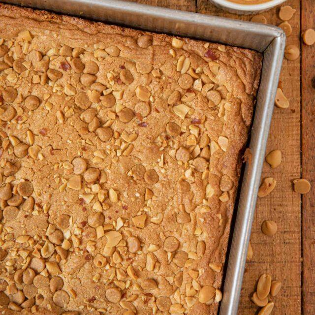 Ultimate Triple Peanut Blondies in baking dish
