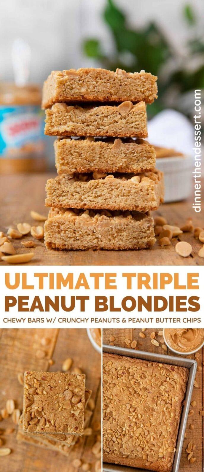 Triple Peanut Blondies collage