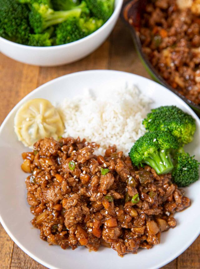 Ground Chicken Stir Fry on plate with rice and broccoli