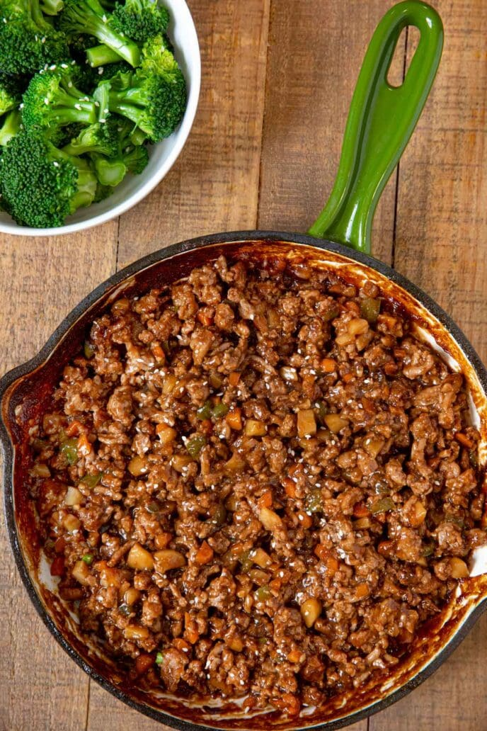 Ground Chicken Stir Fry in skillet with broccoli