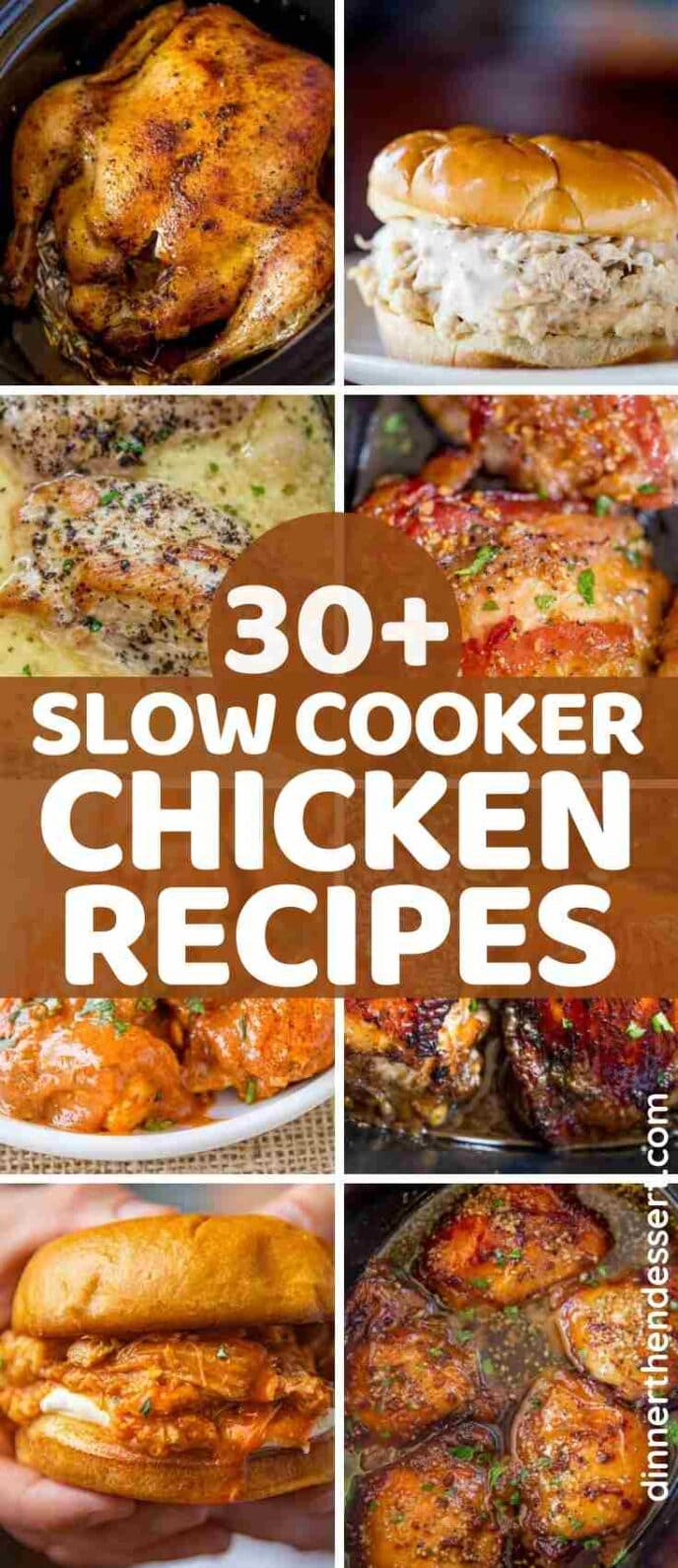Large collage of slow cooker chicken recipes with title
