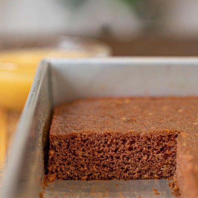 Applesauce Cake in baking pan, cross-section