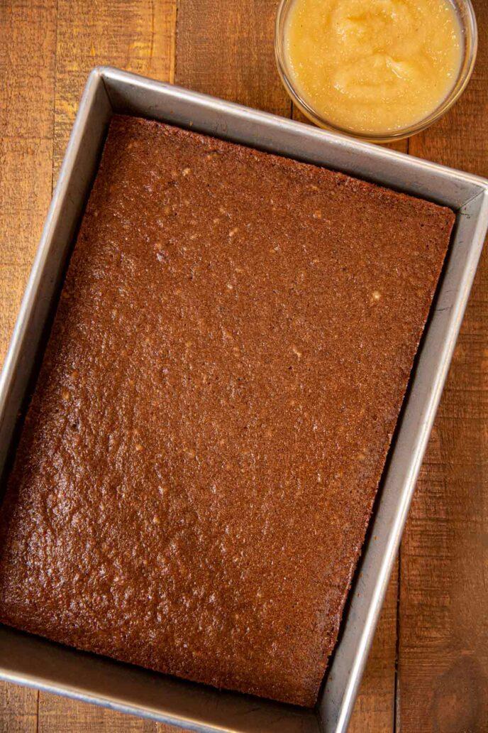 Applesauce Cake in baking pan, top-down